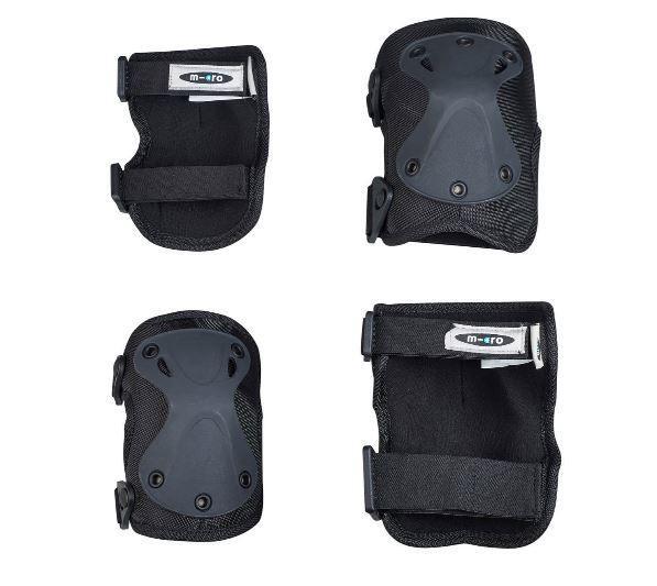 Комплект накладок для защиты локтей и колен Micro black M