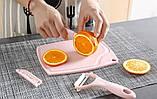 Набор ножей с разделочной доской 3 в 1 (розовый), фото 2