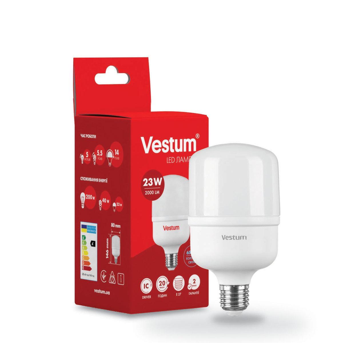 Лампа LED високопотужна T80 23W 6500K 220V E27 ТМ Vestum
