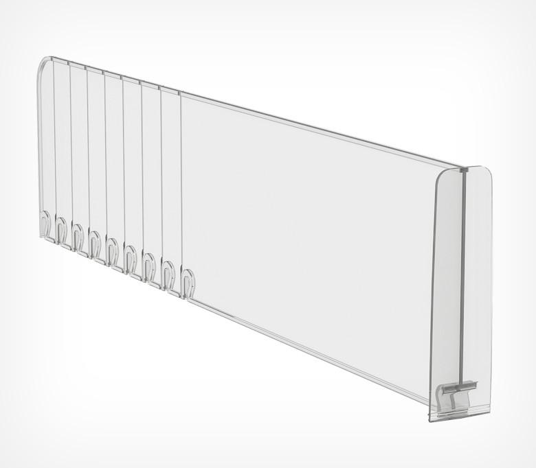 Пластиковий обламывающийся роздільник висотою 120 мм з переднім обмежувачем 120 мм DIV120-BT120-270202