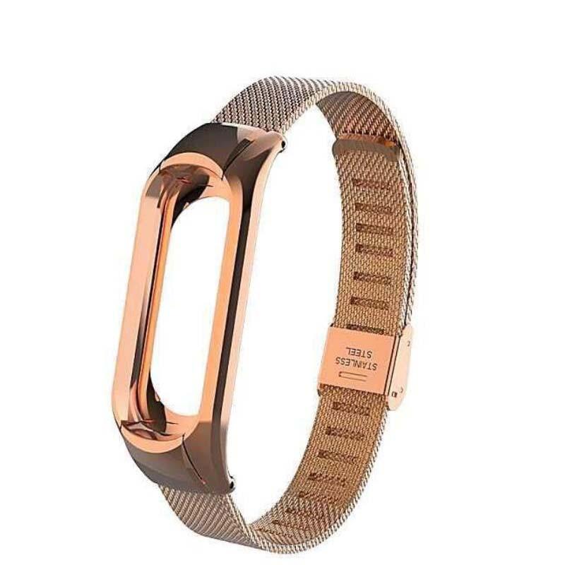 Ремешок Mesh steel design bracelet для фитнес-браслета Mi Band 3 и 4 Rose gold New