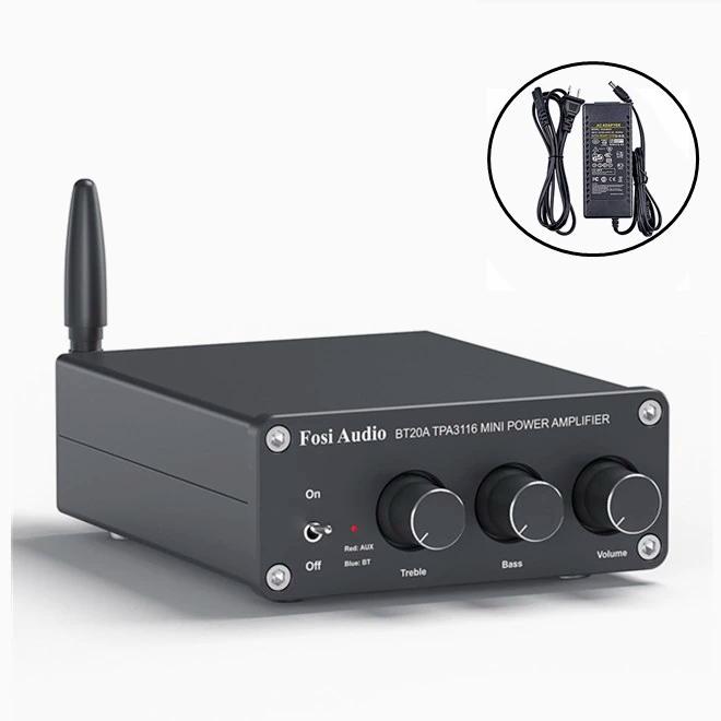Підсилювач звуку Fosi Audio BT20A. Bluetooth 5.0, AUX, 2x100W