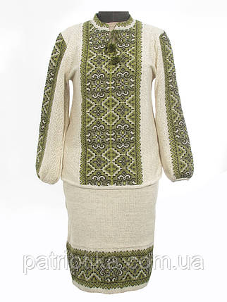 Вязаный женский костюм Влада зеленая | В'язаний жіночий костюм Влада зелена, фото 2