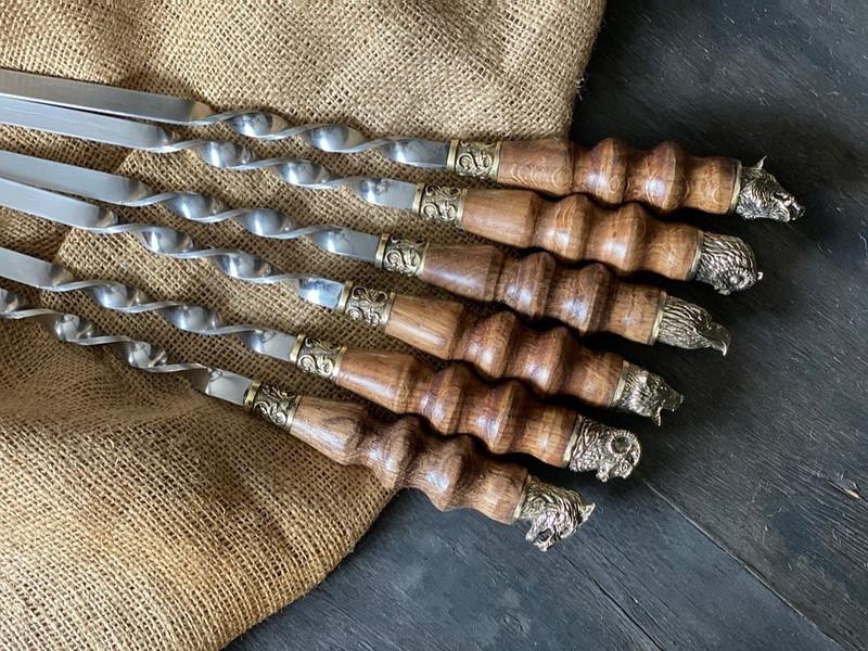 """Шампура подарункові з дерев'яними ручками """"Тандем"""" в шкіряному сагайдаку"""