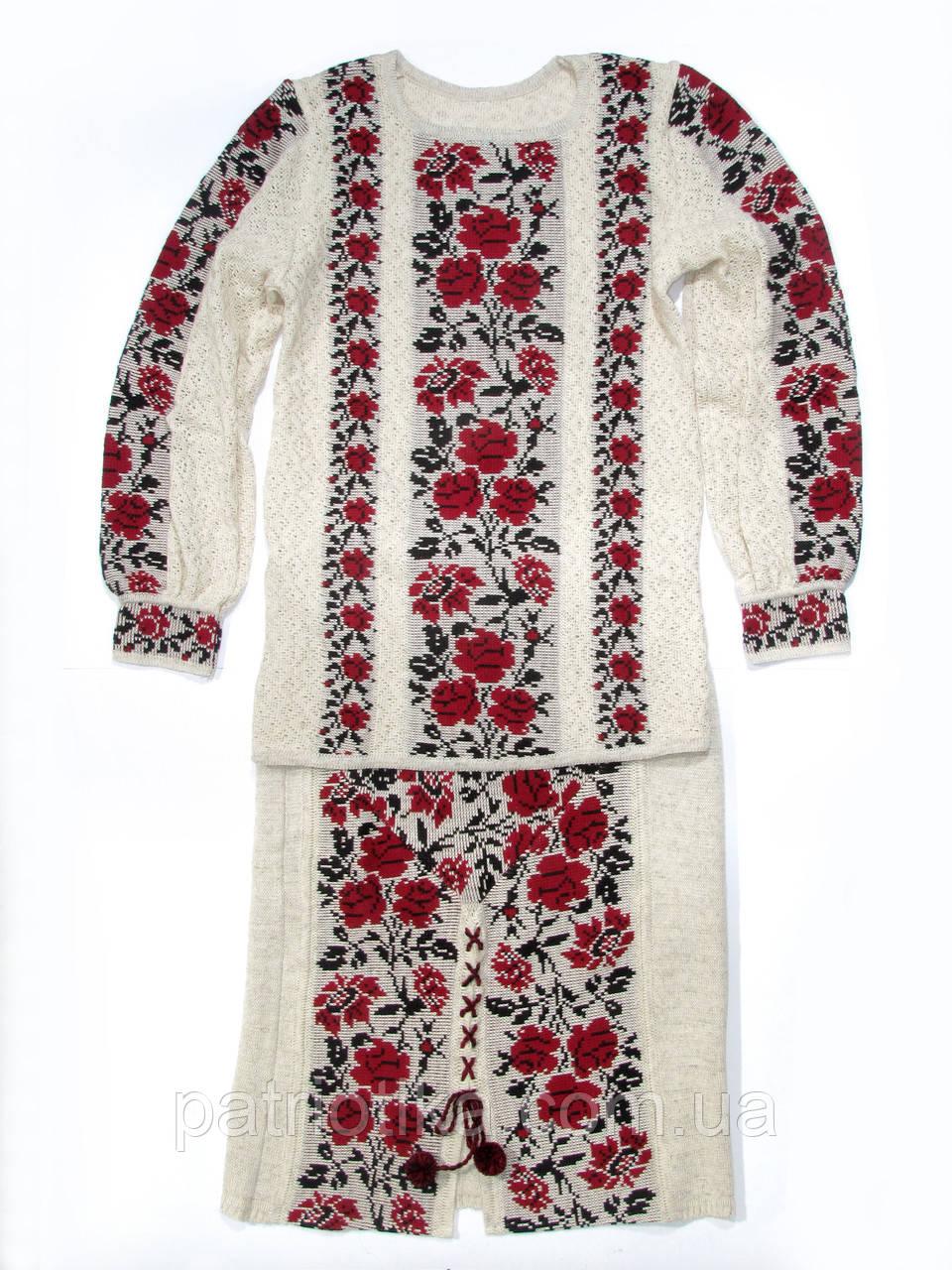 Вязаный женский костюм розы красные | В'язаний жіночий костюм троянди червоні
