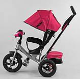Дитячий триколісний велосипед з батьківською ручкою, козирком, кишенькою 3390/11-818 Best Trike, рожевий, фото 3