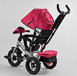 Дитячий триколісний велосипед з батьківською ручкою, козирком, кишенькою 3390/11-818 Best Trike, рожевий, фото 4