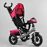 Дитячий триколісний велосипед з батьківською ручкою, козирком, кишенькою 3390/11-818 Best Trike, рожевий, фото 5