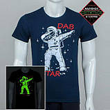 """Мужская светящаяся футболка """"Космонавт"""" синий размер XL, фото 2"""