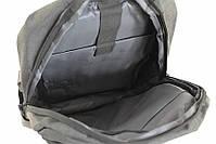 Городской стильный серый рюкзак с USB зарядкой и отделением под ноутбук, рюкзак с зарядкой для телефона, фото 5