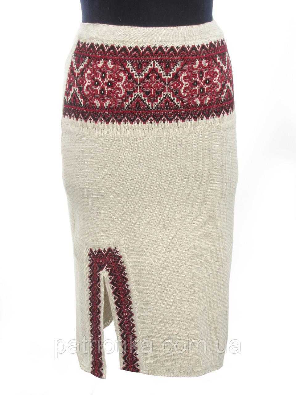 Вязаная юбка Влада красная с разрезом | В'язана спідниця Влада червона з розрізом