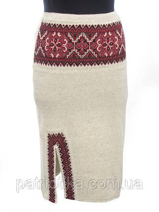 Вязаная юбка Влада красная с разрезом | В'язана спідниця Влада червона з розрізом, фото 2