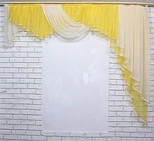 Ламбрекен на карниз 2м. Цвет жёлтый с бежевым. Код 123