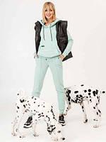 Костюм женский спортивный в стиле sport-casual мятного цвета