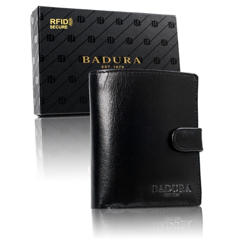 Чоловічий шкіряний гаманець Badura з RFID 11,5 х 9,5 х 2,5 (PO_M083CZ_CE) - чорний