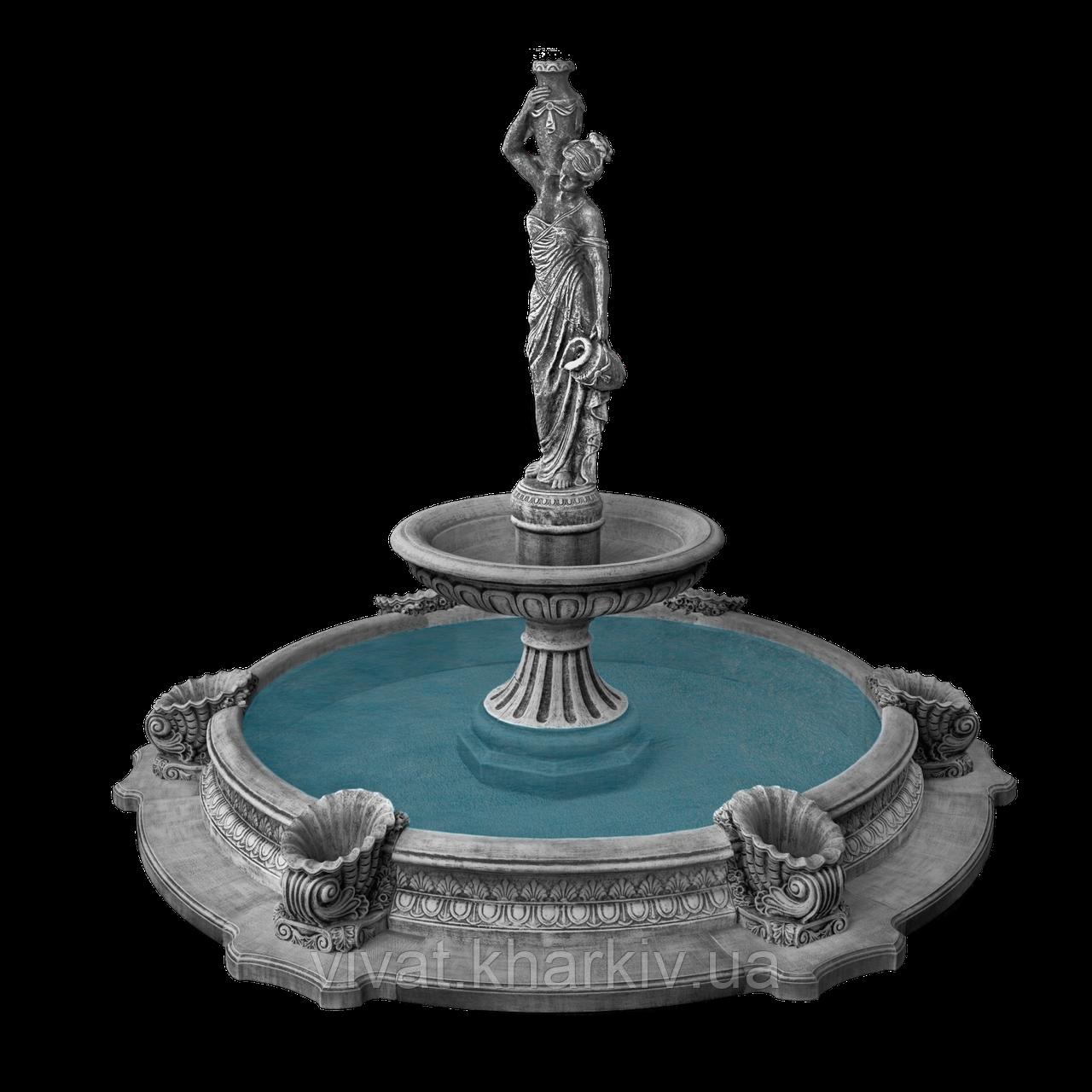 """Садовый фонтан """"Девушка с кувшинами"""" большой басейн"""