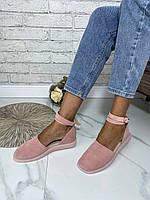 Жіночі закриті босоніжки з натуральної замші. Колір рожевий. Розміри 36-41, фото 1