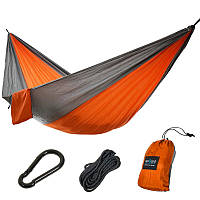 Подвесной гамак для отдыха, цвет Оранжево-серый RenGard 260 х140 см