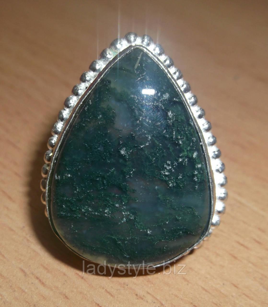 Шикарное кольцо с моховым агатом, размер 19,3