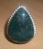 Шикарное кольцо с моховым агатом, размер 19,3, фото 1