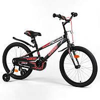 Велосипед двухколесный детский 20 дюймов (с доп колесиками) Corso R-20607 Черно-красный (собран на 75%)