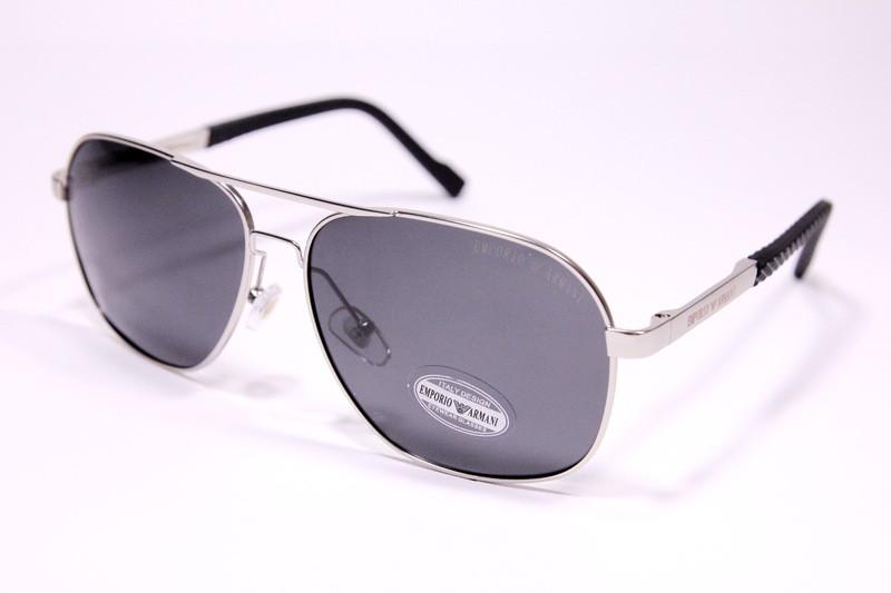 Чоловічі сонцезахисні окуляри авіатори Армані P1704 C2 репліка Чорні з поляризацією