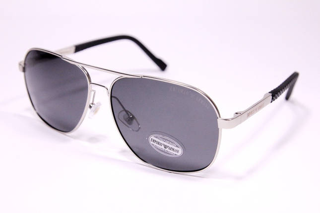 Чоловічі сонцезахисні окуляри авіатори Армані P1704 C2 репліка Чорні з поляризацією, фото 2