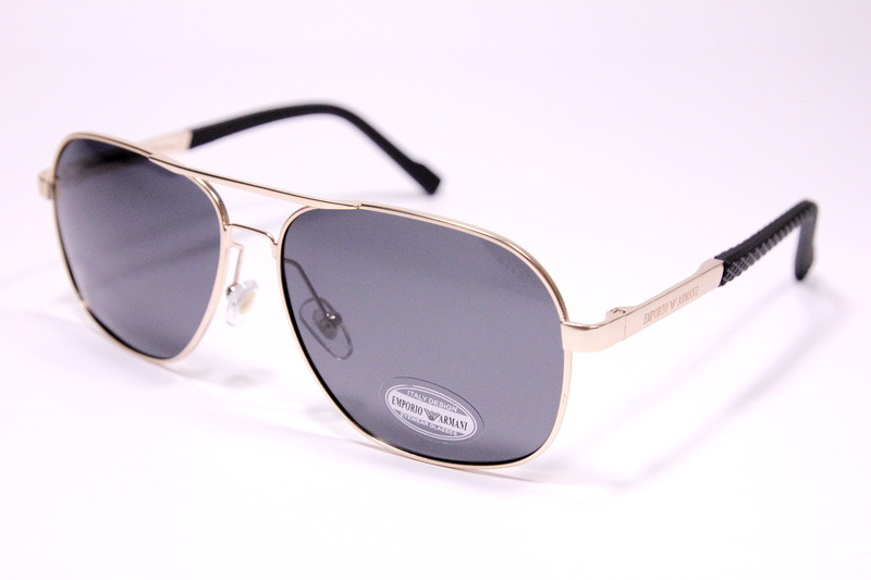 Чоловічі сонцезахисні окуляри авіатори Армані P1704 C1 репліка Чорні з поляризацією