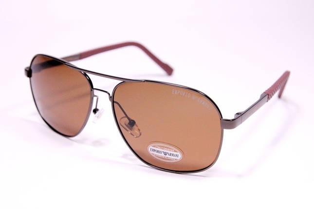 Чоловічі сонцезахисні окуляри авіатори Армані P1704 C3 репліка Коричневі з поляризацією, фото 2