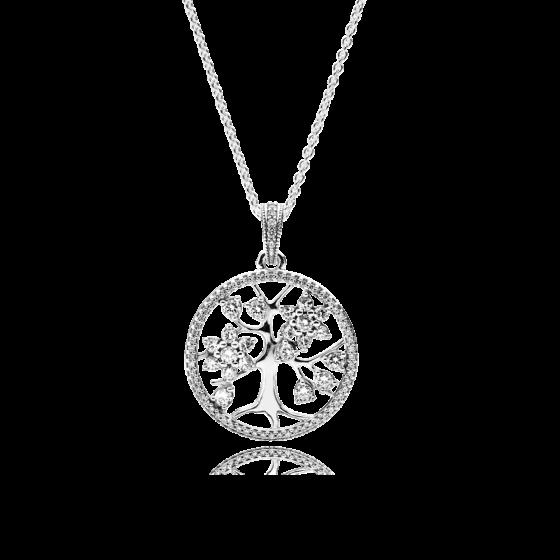 """Срібне намисто з кулоном Pandora """"Сiмейнe дерево"""" 390384CZ"""