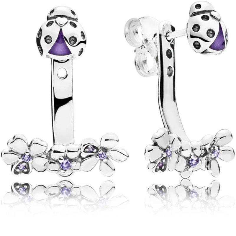 Серебряные серьги Pandora «Божья коровка» 297123NLC