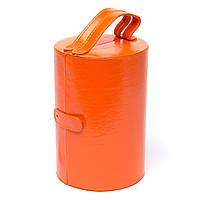 Шкатулка из прессованной кожи оранжевая JS649-1