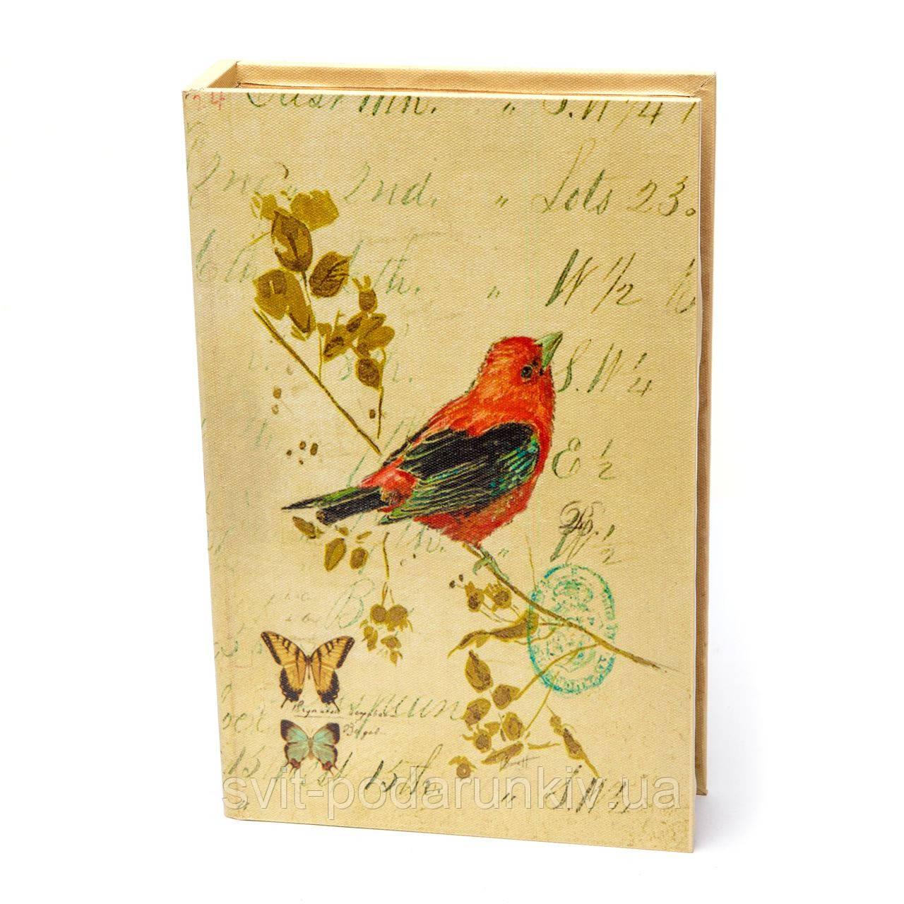Шкатулка книга в стиле прованс с изображением птички S9158-8