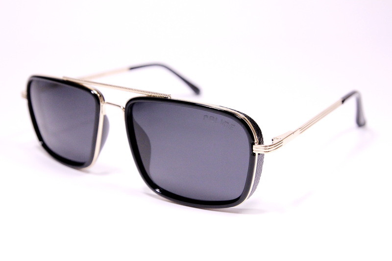 Чоловічі сонцезахисні окуляри авіатори Армані P4105 C2 репліка Чорні з поляризацією