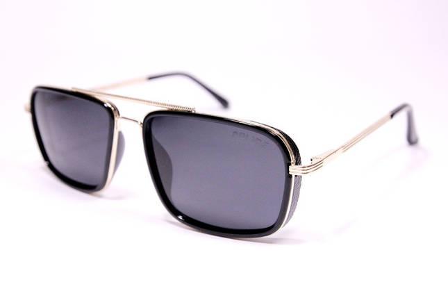 Чоловічі сонцезахисні окуляри авіатори Армані P4105 C2 репліка Чорні з поляризацією, фото 2