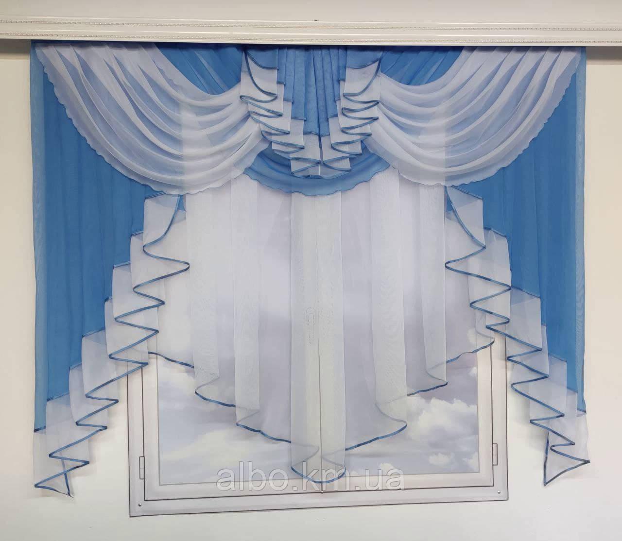 Красива фіранка в дитячу спальню кухню, модні фіранки для залу спальні, якісний тюль для залу вітальні кімнати ALBO 200x160 см