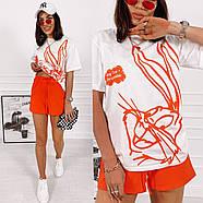 Универсальный женский костюм двойка с качественным накатом на футболке, фото 2