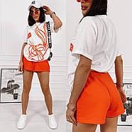 Универсальный женский костюм двойка с качественным накатом на футболке, фото 3