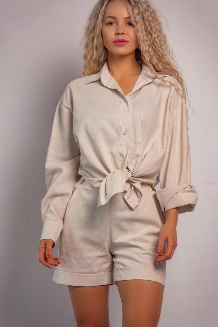 Женский классический комплект (шорты+рубашка) Linen