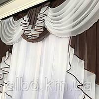 Готовый тюль с ламбрекеном для зала спальни кухни, тюль кухонный, тюль шифон для гостинной зала хола ALBO, фото 5