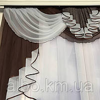 Готовый тюль с ламбрекеном для зала спальни кухни, тюль кухонный, тюль шифон для гостинной зала хола ALBO, фото 3