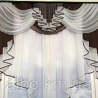 Готовый тюль с ламбрекеном для зала спальни кухни, тюль кухонный, тюль шифон для гостинной зала хола ALBO, фото 8
