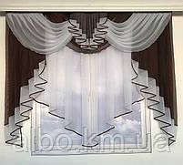 Готовый тюль с ламбрекеном для зала спальни кухни, тюль кухонный, тюль шифон для гостинной зала хола ALBO, фото 10