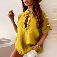 """Сорочка жіноча молодіжна лляна, розміри 42-52 (4кол) """"Zig Zag"""" купити недорого від прямого постачальника"""