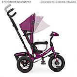 Дитячий 3-х колісний велосипед з батьківською ручкою і звуковий панеллю TURBOTRIKE M 3115HA-18L Фіолетовий льон, фото 2
