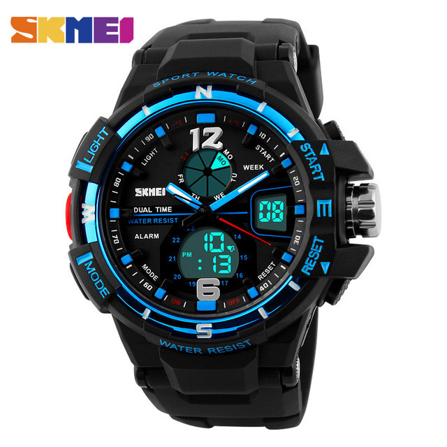 Skmei 1148 чорні з синім чоловічі спортивні годинник