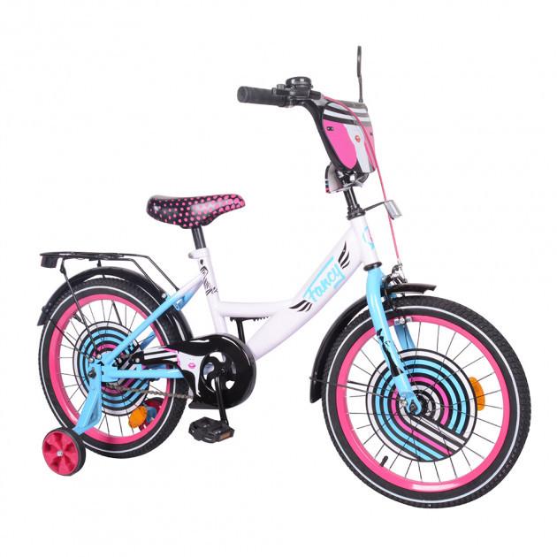 """Двоколісний велосипед з приставними колесами EXPLORER 18"""" T-218214, багажником, дзвінком, white+pink+blue"""