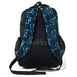 Рюкзак подростковый в школу молодежный для мальчика-девочки 41 см Черно-голубой (25515), фото 3