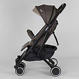 Коляска прогулочная детская JOY Vittoria 71055 Коричневый Лен алюминиевая рама, футкавер, фото 3