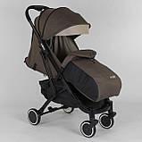 Коляска прогулочная детская JOY Vittoria 71055 Коричневый Лен алюминиевая рама, футкавер, фото 4